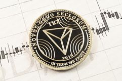 Tron é uma maneira moderna de troca e desta moeda cripto fotografia de stock