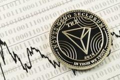 Tron é uma maneira moderna de troca e esta moeda cripto é fotografia de stock