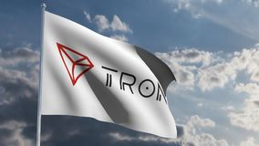 Tron TRX banner in wind 3d animation stock footage