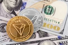 Tron coin cryptocurrency. Symbol with dollars royalty free stock photos