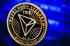 Tron coin cryptocurrency. Tron coin a cryptocurrency symbol royalty free stock image