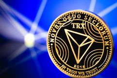 Tron coin cryptocurrency. On the digital background stock photos