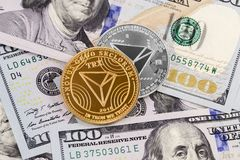 Tron coins cryptocurrency. Symbol with dollars stock photo