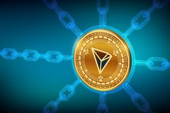 Tron. Crypto currency. Block chain. 3D isometric Physical Tron coin with wireframe chain. Blockchain concept. Editable Cryptocurre stock illustration