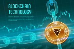 Tron. Crypto currency. Block chain. 3D isometric Physical golden Tron coin with wireframe chain on blue financial. Background. Blockchain concept. Editable vector illustration