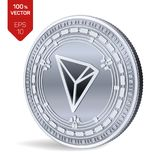 Tron. 3D isometric Physical coin. Digital currency. Cryptocurrency. Silver coin with Tron symbol isolated on white background. Vec vector illustration