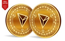 Tron. 3D isometric Physical coins. Digital currency. Cryptocurrency. Golden coins with Tron symbol isolated on white background. V vector illustration