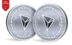 Tron. 3D isometric Physical coins. Digital currency. Cryptocurrency. Silver coins with Tron symbol isolated on white background. V vector illustration
