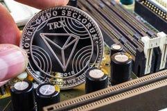 Tron is een moderne manier van uitwisseling en deze crypto munt royalty-vrije stock foto's