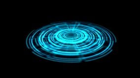 Tron Hologram Portal Vortex Spin on the Ground Blue Color. . Alpha Channel Transparency included stock video footage
