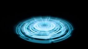 Tron Hologram Portal Vortex Spin on the Ground Blue with Light Rays stock video footage