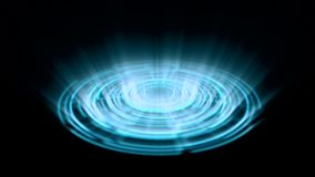 Tron Hologram Portal Vortex Spin on the Ground Blue with Vertical Light Rays stock footage