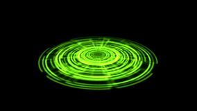 Tron Hologram Portal Vortex Spin on the Ground Green Color. Alpha Channel Transparency included stock video footage