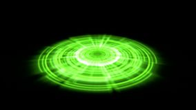 Tron Hologram Portal Vortex Spin on the Ground Green with Light Rays stock video footage