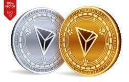 tron isometriska mynt för läkarundersökning 3D Digital valuta Cryptocurrency Guld- och silvermynt med det Tron symbolet som isole stock illustrationer