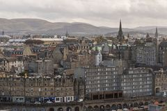 The Tron Kirk and Pentland Hills Edinburgh Skyline Stock Images