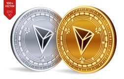 tron monete fisiche isometriche 3D Valuta di Digital Cryptocurrency Monete dorate e d'argento con il simbolo di Tron isolate sull illustrazione di stock
