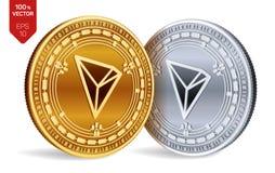 tron monete fisiche isometriche 3D Valuta di Digital Cryptocurrency Monete dorate e d'argento con il simbolo di Tron isolate sull illustrazione vettoriale