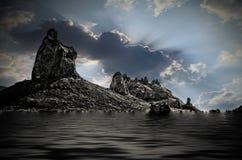 Trona Pinnacle over Water Stock Image