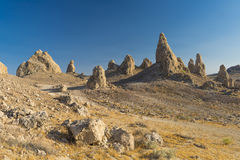 Trona Pinnacles. Are nerarly 500 tufa spires hiddeen in California Desert National Conservation Area, not far from the Death Valley National Park, California Royalty Free Stock Photos