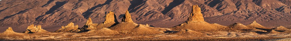 Trona Pinnacles Panorama Royalty Free Stock Photos