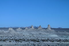 Trona Pinnacles in panoramic row Royalty Free Stock Photo