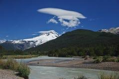 Tronador mountain - Argentina. Mount Tronador above a water stream. Argentina Royalty Free Stock Photography