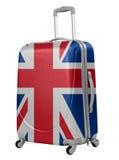 Tronc avec le drapeau britannique d'isolement Voyage au concept de l'Angleterre Photo libre de droits