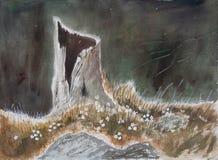 Tronc d'arbre avec des fleurs - peinture originale d'aquarelle illustration de vecteur