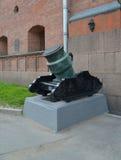 Tronc d'un mortier obsidional de 375 millimètres du siècle XVIII Images libres de droits