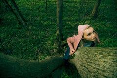 Tronco de árbol de la explotación agrícola de la mujer Imagenes de archivo