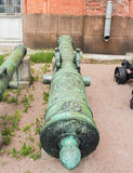 Tronco de bronze da arma do cerco da primeira metade do 18o centavo Fotografia de Stock Royalty Free