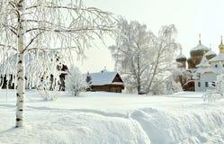 Tronco del abedul canoso desnudo en nieve profunda en el fondo del monasterio y de casas ortodoxos en el invierno Fotografía de archivo