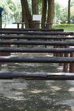 Tronco di legno per l'allungamento dello sport del parco delle parti del corpo Fotografia Stock Libera da Diritti