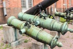 Troncos de bronce de cañones antiguos Imágenes de archivo libres de regalías