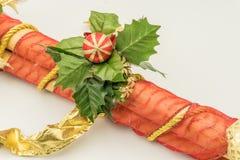 Troncos De caña decorativos De Navidad fotografia stock