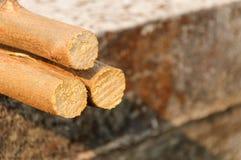 Troncs d'arbre empilés sur le fond concret Images libres de droits