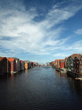 Trondheim. Architecture in Trondheim-houses along ther Nidelva river Royalty Free Stock Photo