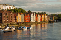 Trondheim Norway Houses. Trondheim canal with boats and wooden houses Royalty Free Stock Photo