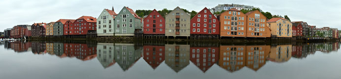 Trondheim. Panoramic view over the river Nidelven in Trondheim, Norway Royalty Free Stock Images