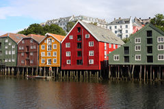 Trondheim buildings. Famous storehouses on river side of Nidelva, Trondheim Royalty Free Stock Image