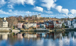 Trondheim buildings and River NIdelva royalty free stock image
