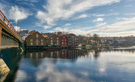 Trondheim buildings and river stock photo