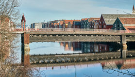 Trondheim buildings and river royalty free stock images
