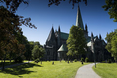 Trondheim Cathedral. Path leading to Trondheim Cathedral in summer Stock Photos