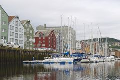 Trondheim city marina exterior on a cloudy day in Trondheim, Norway. Stock Photo
