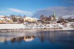 Trondheim cityscape with Nidaros cathedral Norway Stock Images