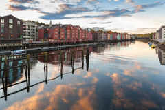 Trondheim. Colorful old wooden houses royalty free stock image