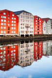 Trondheim, colorful old wooden houses royalty free stock photo