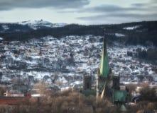Trondheim domkyrka från den Kristiansten fästningen Royaltyfri Fotografi